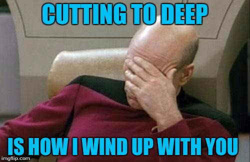 Captain Picard Facepalm Meme | CUTTING TO DEEP IS HOW I WIND UP WITH YOU | image tagged in memes,captain picard facepalm | made w/ Imgflip meme maker