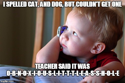 I SPELLED CAT, AND DOG, BUT COULDN'T GET ONE TEACHER SAID IT WAS O-B-N-O-X-I-O-U-S-L-I-T-T-T-L-E-A-S-S-H-O-L-E | made w/ Imgflip meme maker