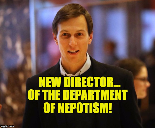 Trump's Son in Law | NEW DIRECTOR... OF THE DEPARTMENT OF NEPOTISM! | image tagged in trump's son in law,nepotism,corruption | made w/ Imgflip meme maker