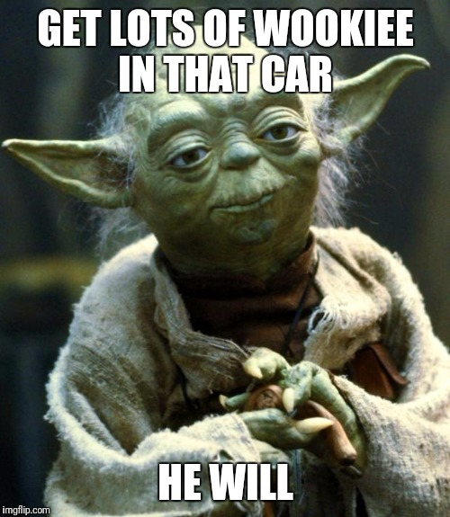 Star Wars Yoda Meme | GET LOTS OF WOOKIEE IN THAT CAR HE WILL | image tagged in memes,star wars yoda | made w/ Imgflip meme maker