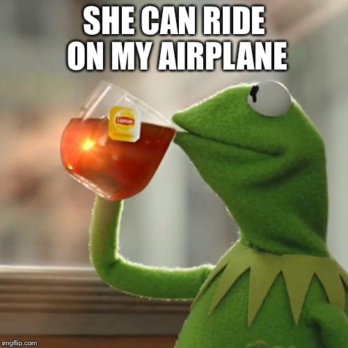 But Thats None Of My Business Meme | SHE CAN RIDE ON MY AIRPLANE | image tagged in memes,but thats none of my business,kermit the frog | made w/ Imgflip meme maker