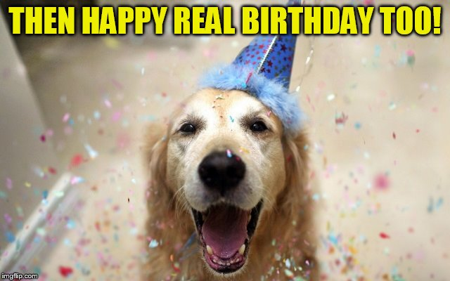 dog birthday | THEN HAPPY REAL BIRTHDAY TOO! | image tagged in dog birthday | made w/ Imgflip meme maker
