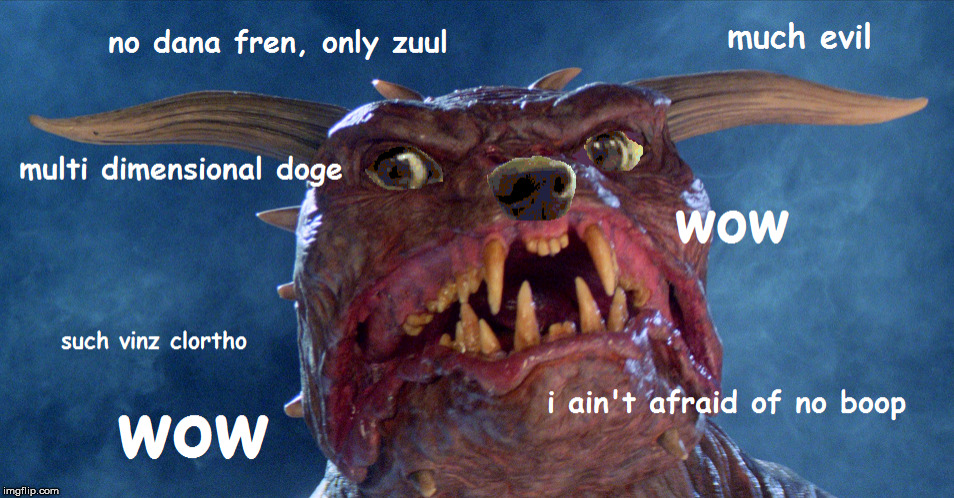 i aint afraid of no boop | image tagged in doge,ghostbusters,doggo,zuul,vinz clortho | made w/ Imgflip meme maker