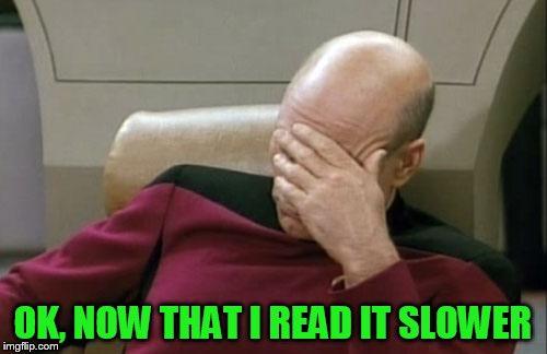 Captain Picard Facepalm Meme | OK, NOW THAT I READ IT SLOWER | image tagged in memes,captain picard facepalm | made w/ Imgflip meme maker