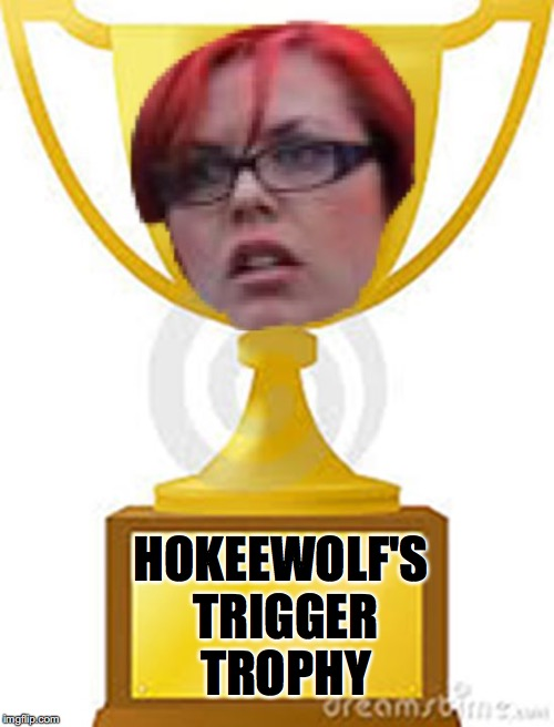 HOKEEWOLF'S TRIGGER TROPHY | image tagged in trigger trophy | made w/ Imgflip meme maker