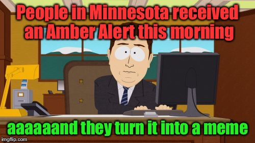 Aaaaand Its Gone Meme | People in Minnesota received an Amber Alert this morning aaaaaand they turn it into a meme | image tagged in memes,aaaaand its gone | made w/ Imgflip meme maker