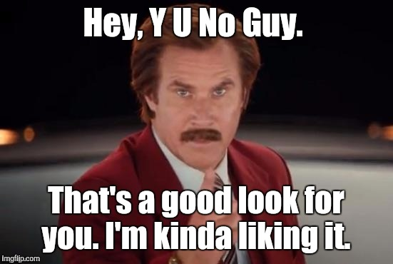 Burgundy | Hey, Y U No Guy. That's a good look for you. I'm kinda liking it. | image tagged in burgundy | made w/ Imgflip meme maker