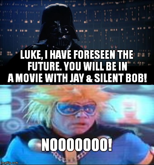Snooch to the nooch! | LUKE, I HAVE FORESEEN THE FUTURE. YOU WILL BE IN A MOVIE WITH JAY & SILENT BOB! NOOOOOOO! | image tagged in memes,star wars no,jay and silent bob,strike back | made w/ Imgflip meme maker