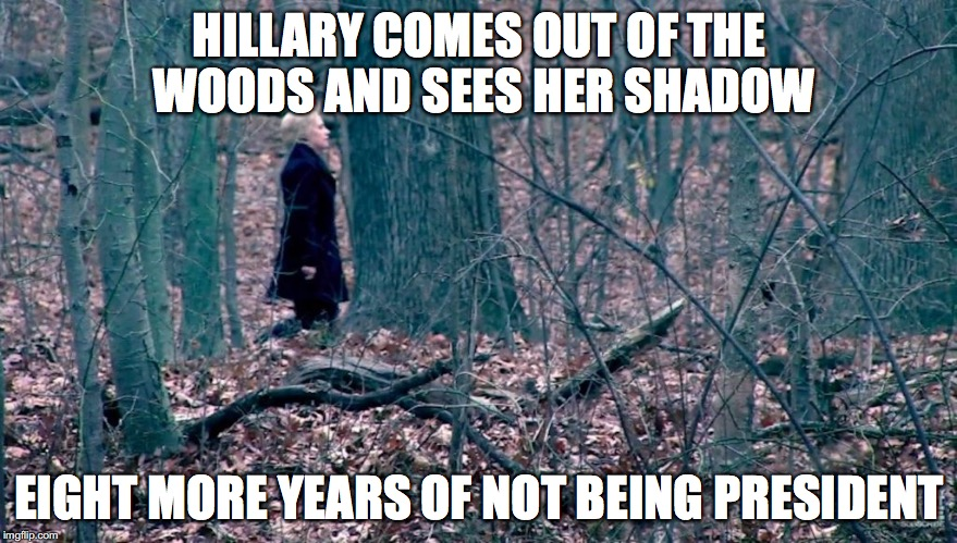 Groundhog Election | HILLARY COMES OUT OF THE WOODS AND SEES HER SHADOW EIGHT MORE YEARS OF NOT BEING PRESIDENT | image tagged in hillary,trump,election | made w/ Imgflip meme maker