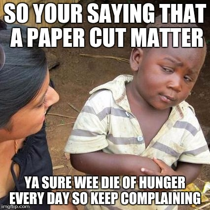 Third World Skeptical Kid Meme | SO YOUR SAYING THAT A PAPER CUT MATTER YA SURE WEE DIE OF HUNGER EVERY DAY SO KEEP COMPLAINING | image tagged in memes,third world skeptical kid | made w/ Imgflip meme maker