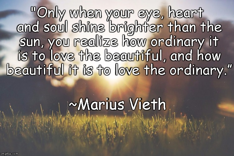 "Sunlight |  ""Only when your eye, heart and soul shine brighter than the sun, you realize how ordinary it is to love the beautiful, and how beautiful it is to love the ordinary.""; ~Marius Vieth 