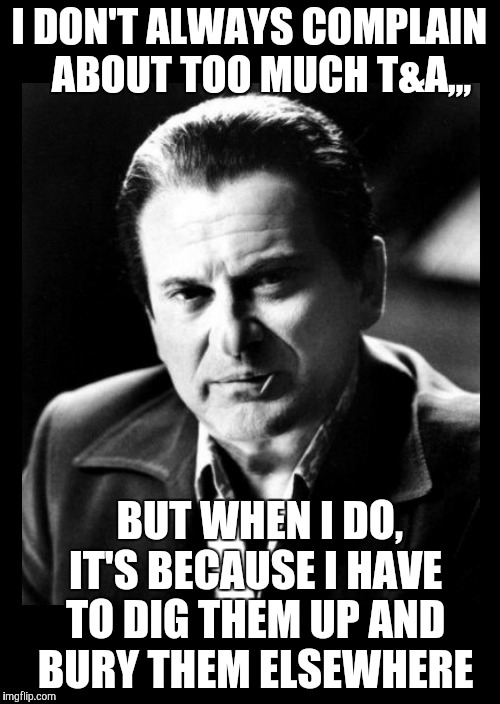 Joe Pesci sez,,, with black background | I DON'T ALWAYS COMPLAIN   ABOUT TOO MUCH T&A,,, BUT WHEN I DO, IT'S BECAUSE I HAVE TO DIG THEM UP AND BURY THEM ELSEWHERE | image tagged in joe pesci sez,with black background | made w/ Imgflip meme maker