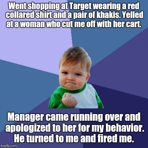 I don't work here.  | Went shopping at Target wearing a red collared shirt and a pair of khakis. Yelled at a woman who cut me off with her cart. Manager came runn | image tagged in memes,success kid | made w/ Imgflip meme maker