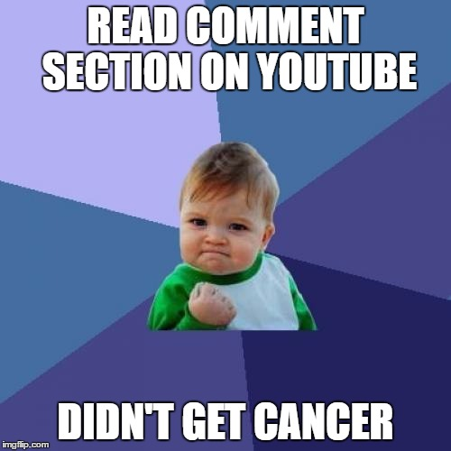Success Kid | READ COMMENT SECTION ON YOUTUBE DIDN'T GET CANCER | image tagged in memes,success kid,youtube | made w/ Imgflip meme maker