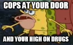 Spongegar Meme | COPS AT YOUR DOOR AND YOUR HIGH ON DRUGS | image tagged in memes,spongegar | made w/ Imgflip meme maker
