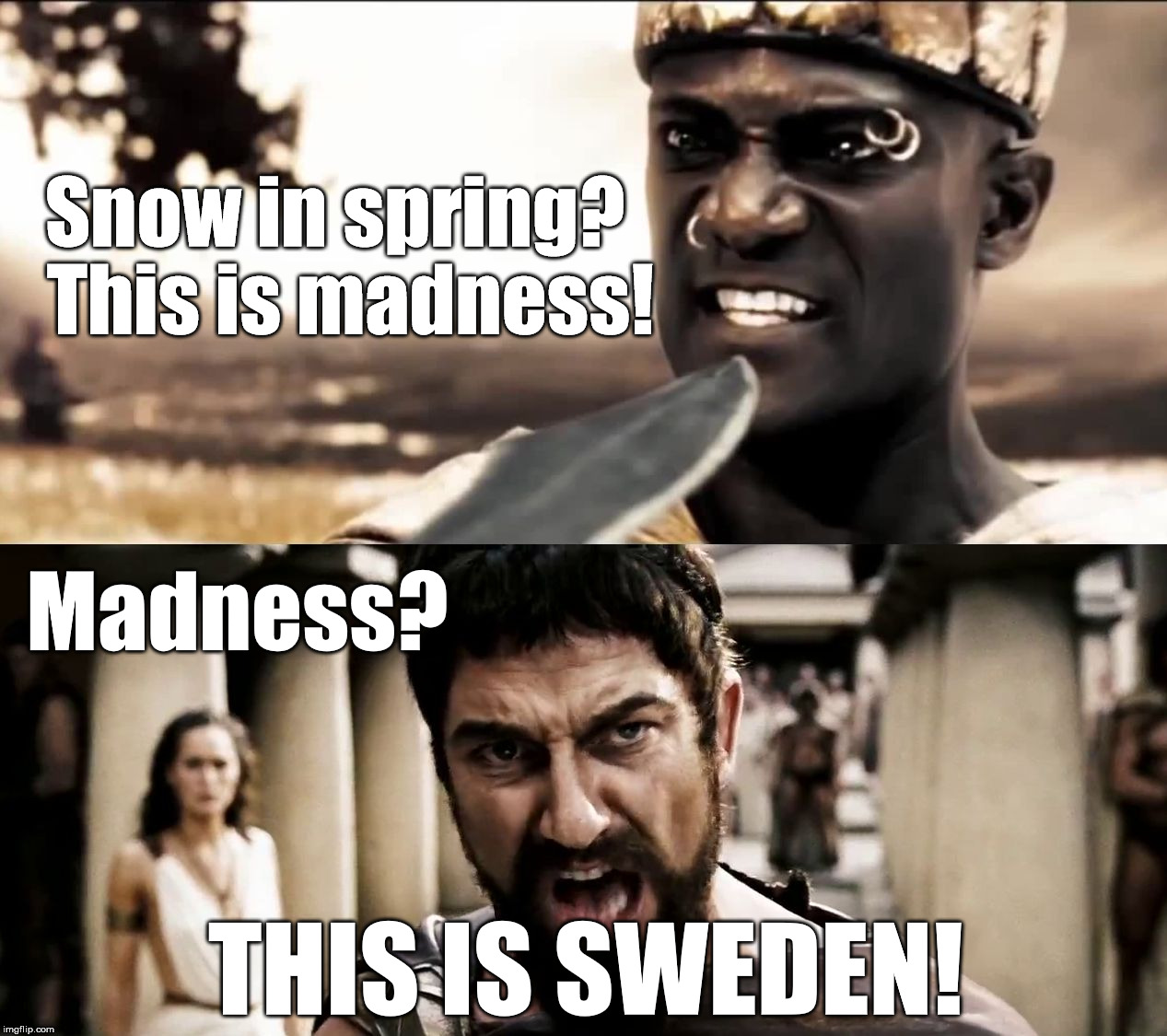 THIS IS SWEDEN! ... or at least Swedish Weather | Snow in spring?  This is madness! Madness? THIS IS SWEDEN! | image tagged in this is sparta,leonidas,spring,sweden | made w/ Imgflip meme maker