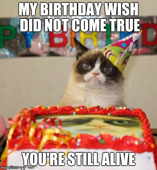 Grumpy Cat Birthday Meme | MY BIRTHDAY WISH DID NOT COME TRUE YOU'RE STILL ALIVE | image tagged in memes,grumpy cat birthday,grumpy cat | made w/ Imgflip meme maker