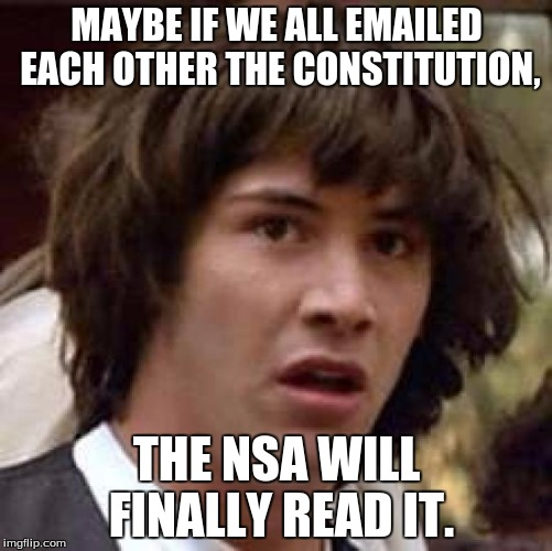 THE NSA IS WATCHING US!!!! | MAYBE IF WE ALL EMAILED EACH OTHER THE CONSTITUTION, THE NSA WILL FINALLY READ IT. | image tagged in memes,conspiracy keanu | made w/ Imgflip meme maker