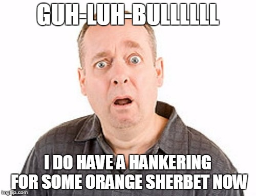 GUH-LUH-BULLLLLL I DO HAVE A HANKERING FOR SOME ORANGE SHERBET NOW | made w/ Imgflip meme maker