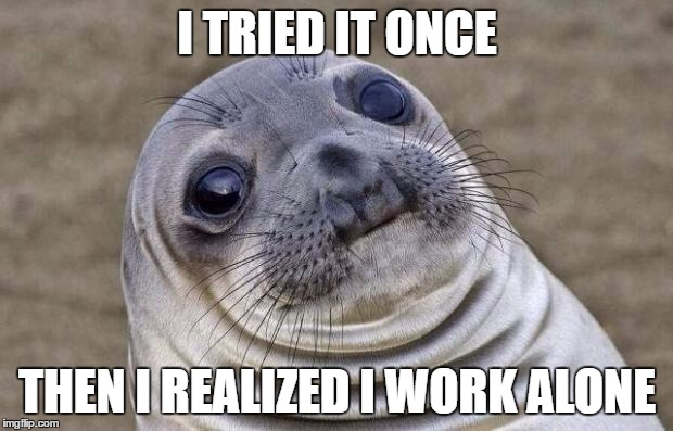 Awkward Moment Sealion Meme | I TRIED IT ONCE THEN I REALIZED I WORK ALONE | image tagged in memes,awkward moment sealion | made w/ Imgflip meme maker