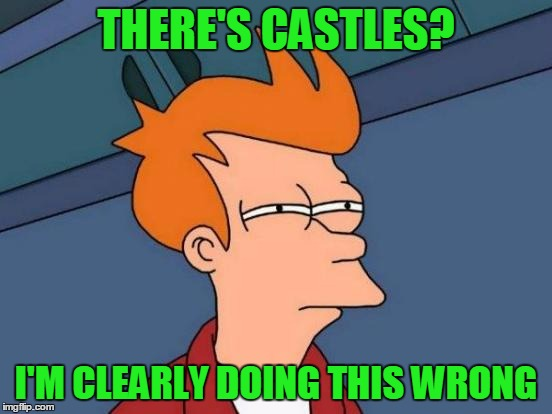 Futurama Fry Meme | THERE'S CASTLES? I'M CLEARLY DOING THIS WRONG | image tagged in memes,futurama fry | made w/ Imgflip meme maker