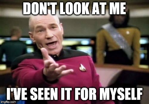 Picard Wtf Meme | DON'T LOOK AT ME I'VE SEEN IT FOR MYSELF | image tagged in memes,picard wtf | made w/ Imgflip meme maker
