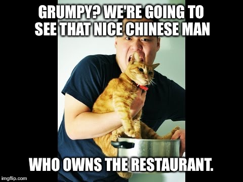 GRUMPY? WE'RE GOING TO SEE THAT NICE CHINESE MAN WHO OWNS THE RESTAURANT. | made w/ Imgflip meme maker