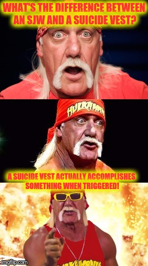 Social Justice Warriors Are Craptacular | WHAT'S THE DIFFERENCE BETWEEN AN SJW AND A SUICIDE VEST? A SUICIDE VEST ACTUALLY ACCOMPLISHES SOMETHING WHEN TRIGGERED! | image tagged in nonsensical hulkster | made w/ Imgflip meme maker