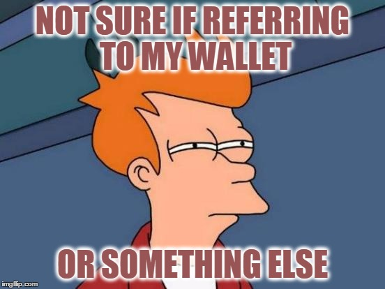Futurama Fry Meme | NOT SURE IF REFERRING TO MY WALLET OR SOMETHING ELSE | image tagged in memes,futurama fry | made w/ Imgflip meme maker