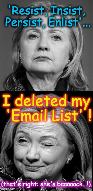 Hillary Winking | 'Resist, Insist, Persist, Enlist'... I deleted my 'Email List' ! (that's right: she's baaaaack...!) | image tagged in hillary winking | made w/ Imgflip meme maker