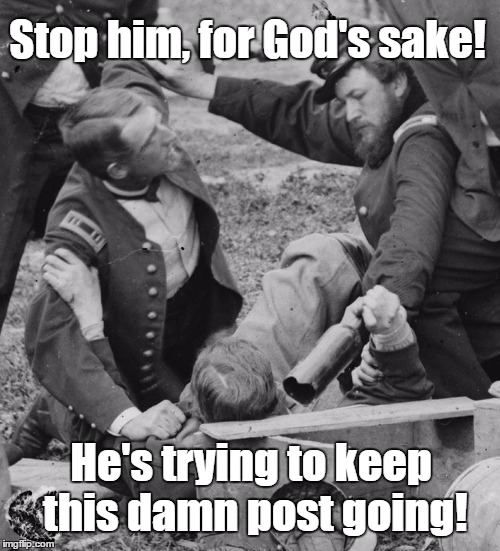 When you wish a Facebook post would just end. | Stop him, for God's sake! He's trying to keep this damn post going! | image tagged in facebook,threads,posts | made w/ Imgflip meme maker