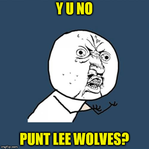 Y U No Meme | Y U NO PUNT LEE WOLVES? | image tagged in memes,y u no | made w/ Imgflip meme maker