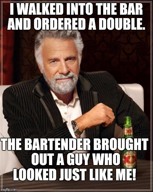 Now I'm twice as interesting!  |  I WALKED INTO THE BAR AND ORDERED A DOUBLE. THE BARTENDER BROUGHT OUT A GUY WHO LOOKED JUST LIKE ME! | image tagged in memes,the most interesting man in the world | made w/ Imgflip meme maker