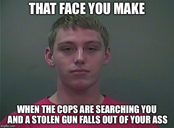 True Story, Bro |  THAT FACE YOU MAKE; WHEN THE COPS ARE SEARCHING YOU AND A STOLEN GUN FALLS OUT OF YOUR ASS | image tagged in that face you make when,true story bro,mug shot | made w/ Imgflip meme maker