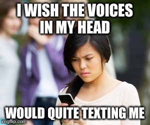 I WISH THE VOICES IN MY HEAD WOULD QUITE TEXTING ME | made w/ Imgflip meme maker