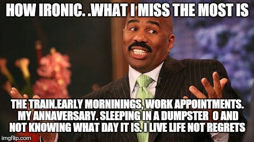 Steve Harvey Meme | HOW IRONIC. .WHAT I MISS THE MOST IS THE TRAIN.EARLY MORNININGS, WORK APPOINTMENTS. MY ANNAVERSARY. SLEEPING IN A DUMPSTER  O AND NOT KNOWIN | image tagged in memes,steve harvey | made w/ Imgflip meme maker