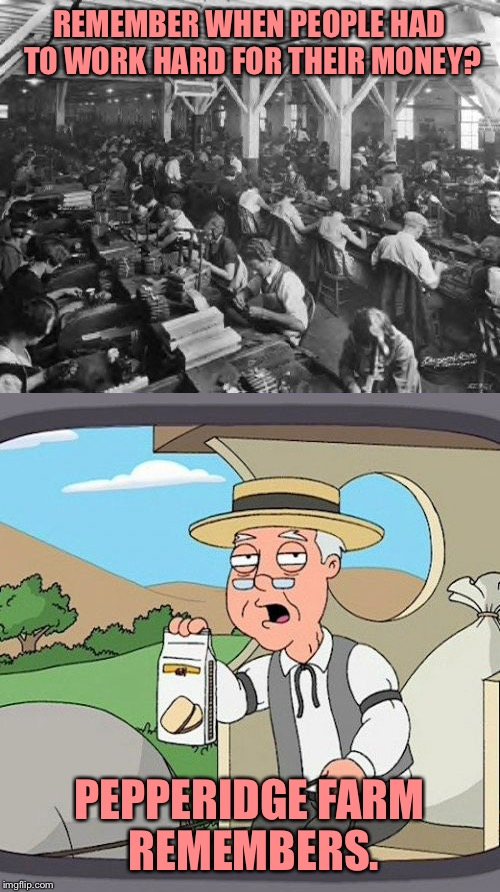 REMEMBER WHEN PEOPLE HAD TO WORK HARD FOR THEIR MONEY? PEPPERIDGE FARM REMEMBERS. | image tagged in pepperidge farm remembers,factory,memes,the rock driving | made w/ Imgflip meme maker