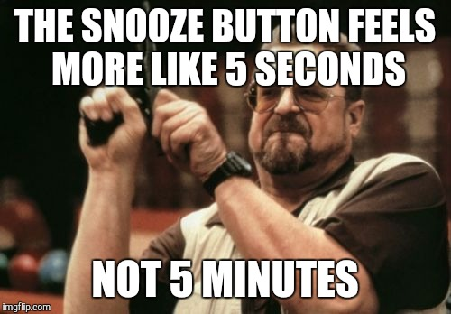 What's the point really  | THE SNOOZE BUTTON FEELS MORE LIKE 5 SECONDS NOT 5 MINUTES | image tagged in memes,am i the only one around here,sleeping,sleep | made w/ Imgflip meme maker