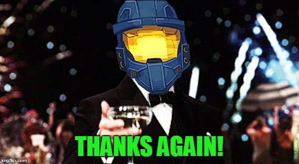 Cheers Ghost | THANKS AGAIN! | image tagged in cheers ghost | made w/ Imgflip meme maker