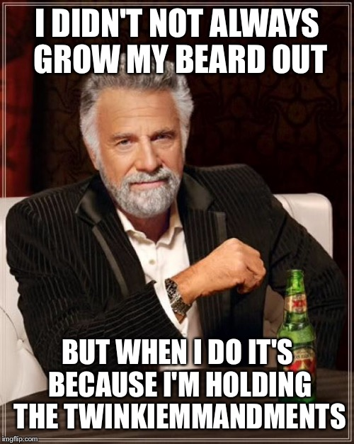The Most Interesting Man In The World Meme | I DIDN'T NOT ALWAYS GROW MY BEARD OUT BUT WHEN I DO IT'S BECAUSE I'M HOLDING THE TWINKIEMMANDMENTS | image tagged in memes,the most interesting man in the world | made w/ Imgflip meme maker