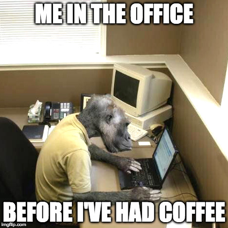 Monkey Business | ME IN THE OFFICE BEFORE I'VE HAD COFFEE | image tagged in memes,monkey business | made w/ Imgflip meme maker