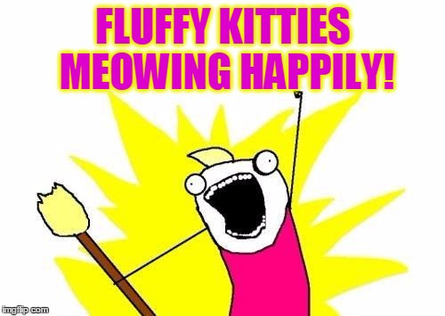 X All The Y Meme | FLUFFY KITTIES MEOWING HAPPILY! | image tagged in memes,x all the y | made w/ Imgflip meme maker