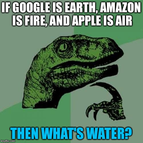 Earth, Fire, Air! But What About Water?  | IF GOOGLE IS EARTH, AMAZON IS FIRE, AND APPLE IS AIR THEN WHAT'S WATER? | image tagged in memes,philosoraptor,funny,google,amazon,apple | made w/ Imgflip meme maker