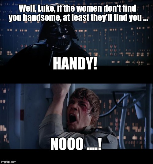 Star Wars No Meme | Well, Luke, if the women don't find you handsome, at least they'll find you ... NOOO ....! HANDY! | image tagged in memes,star wars no | made w/ Imgflip meme maker
