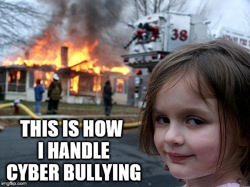 Disaster Girl Meme | THIS IS HOW I HANDLE CYBER BULLYING | image tagged in memes,disaster girl | made w/ Imgflip meme maker