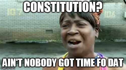 Aint Nobody Got Time For That Meme | CONSTITUTION? AIN'T NOBODY GOT TIME FO DAT | image tagged in memes,aint nobody got time for that | made w/ Imgflip meme maker