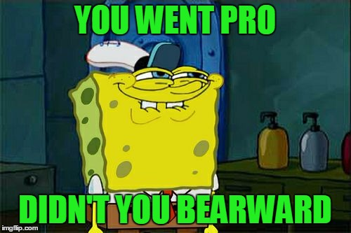 Dont You Squidward Meme | YOU WENT PRO DIDN'T YOU BEARWARD | image tagged in memes,dont you squidward | made w/ Imgflip meme maker