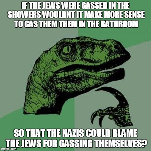 Philosoraptor Meme | IF THE JEWS WERE GASSED IN THE SHOWERS WOULDNT IT MAKE MORE SENSE TO GAS THEM THEM IN THE BATHROOM SO THAT THE NAZIS COULD BLAME THE JEWS FO | image tagged in memes,philosoraptor | made w/ Imgflip meme maker