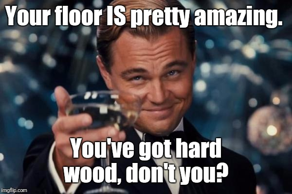 Leonardo Dicaprio Cheers Meme | Your floor IS pretty amazing. You've got hard wood, don't you? | image tagged in memes,leonardo dicaprio cheers | made w/ Imgflip meme maker