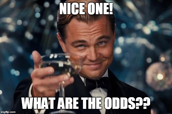 Leonardo Dicaprio Cheers Meme | NICE ONE! WHAT ARE THE ODDS?? | image tagged in memes,leonardo dicaprio cheers | made w/ Imgflip meme maker
